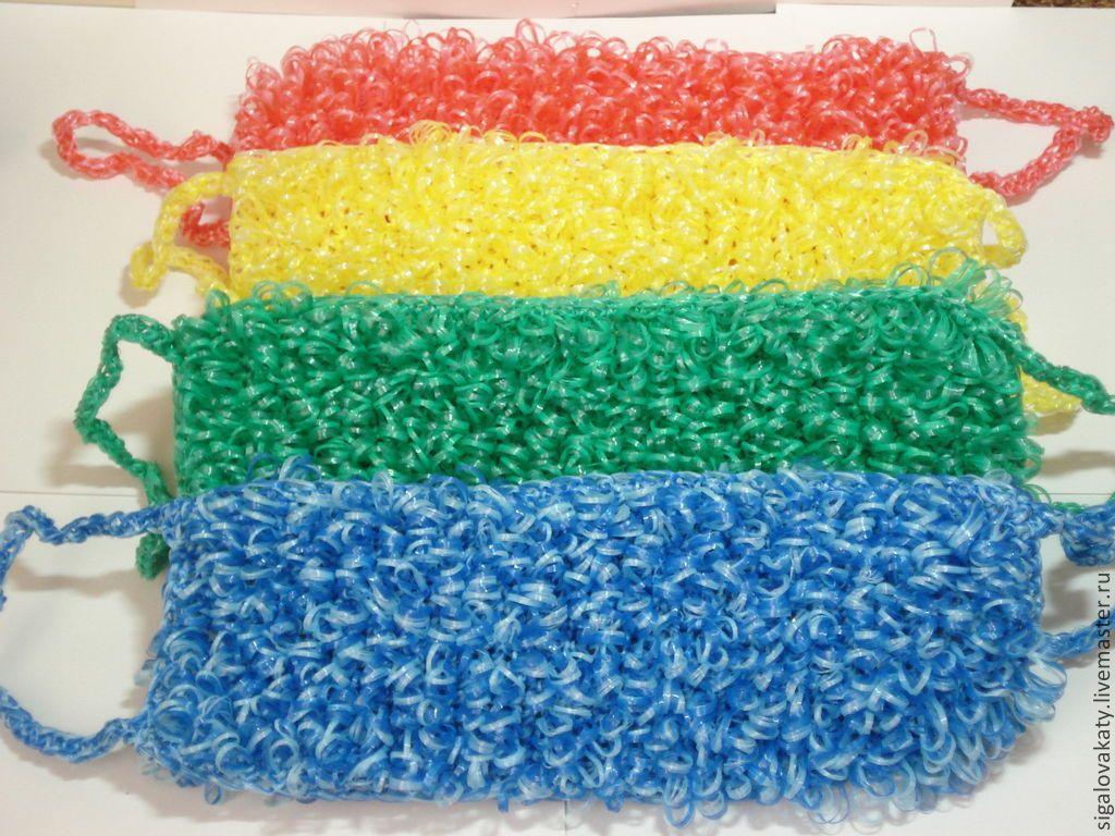 Разные способы вязания мочалок